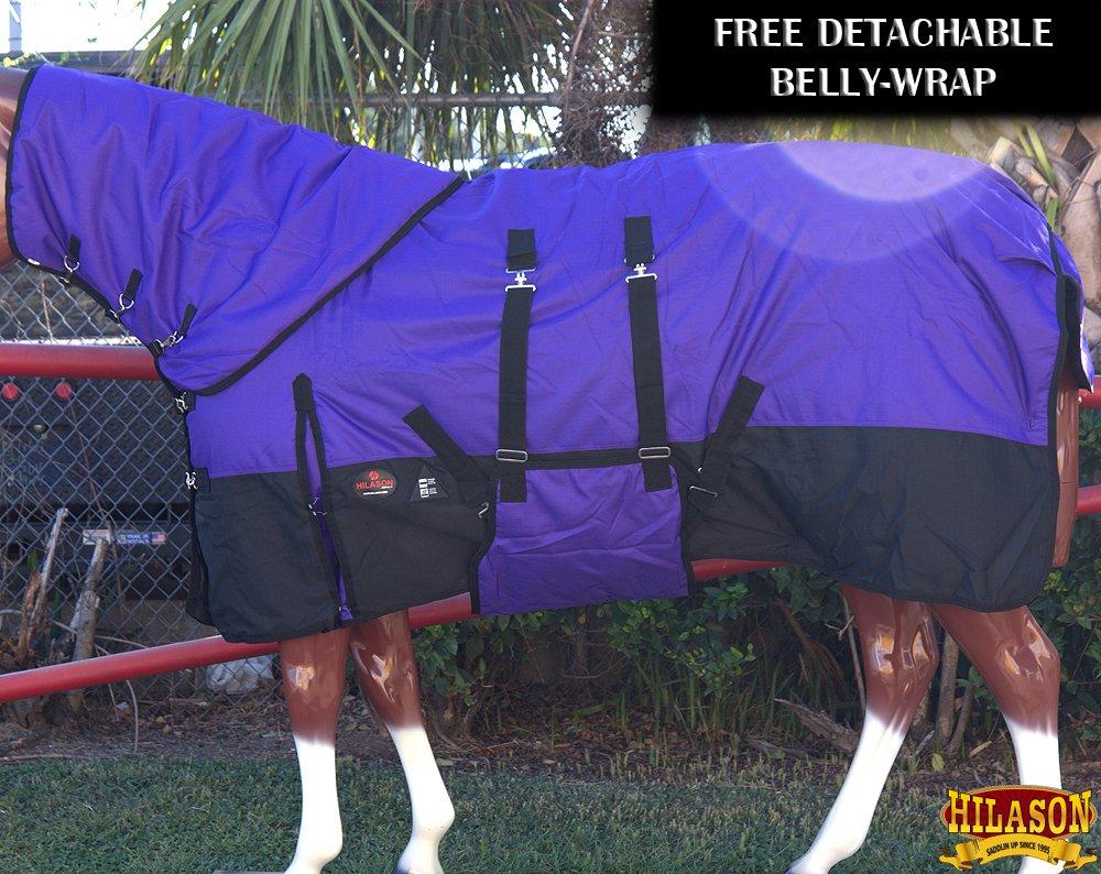 HILASON 72 1200D Waterproof Winter Horse Blanket Neck Cover Belly WRAP Purple