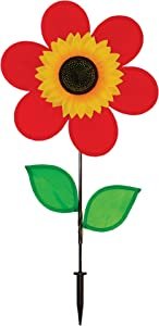 In the Breeze 12 Inch Red Sunflower Wind Spinner with Leaves - Includes Ground Stake - Colorful Flower for your Yard and Garden