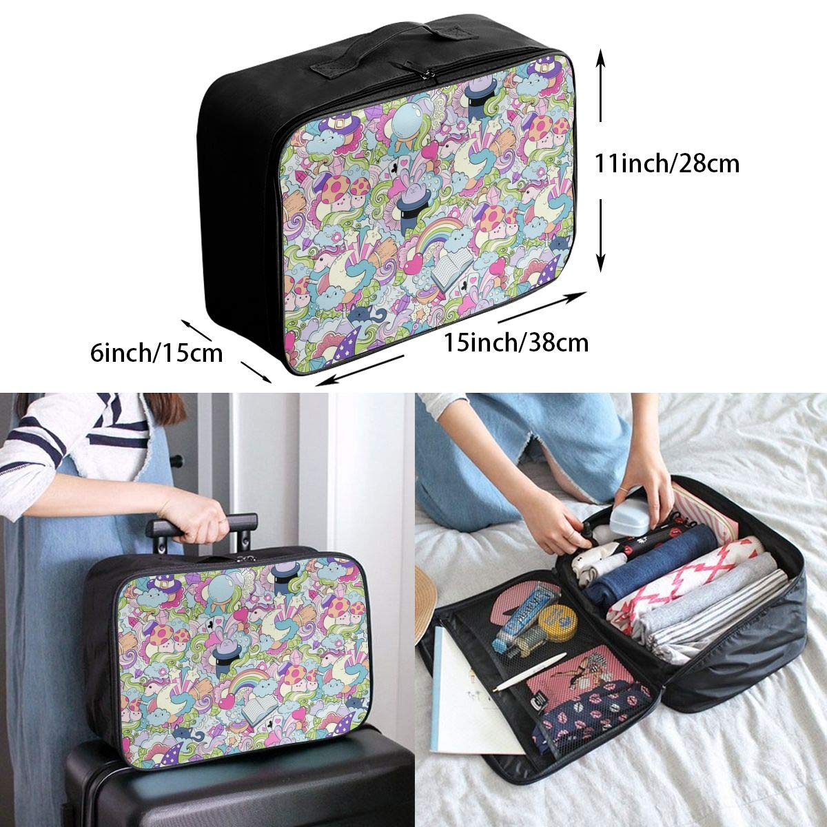 YyTiin Magic Tricks Cards Hat Cloud Heart Travel Fashion Lightweight Large Capacity Portable Waterproof Foldable Storage Carry Luggage Tote Bag