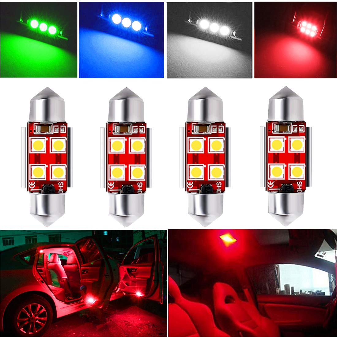 Green iBrightstar Newest 9-30V Extremely Bright DE3175 DE3021 Festoon Error Free 1.25 31mm LED for Interior Map Dome Lights and License Plate Courtesy Lights