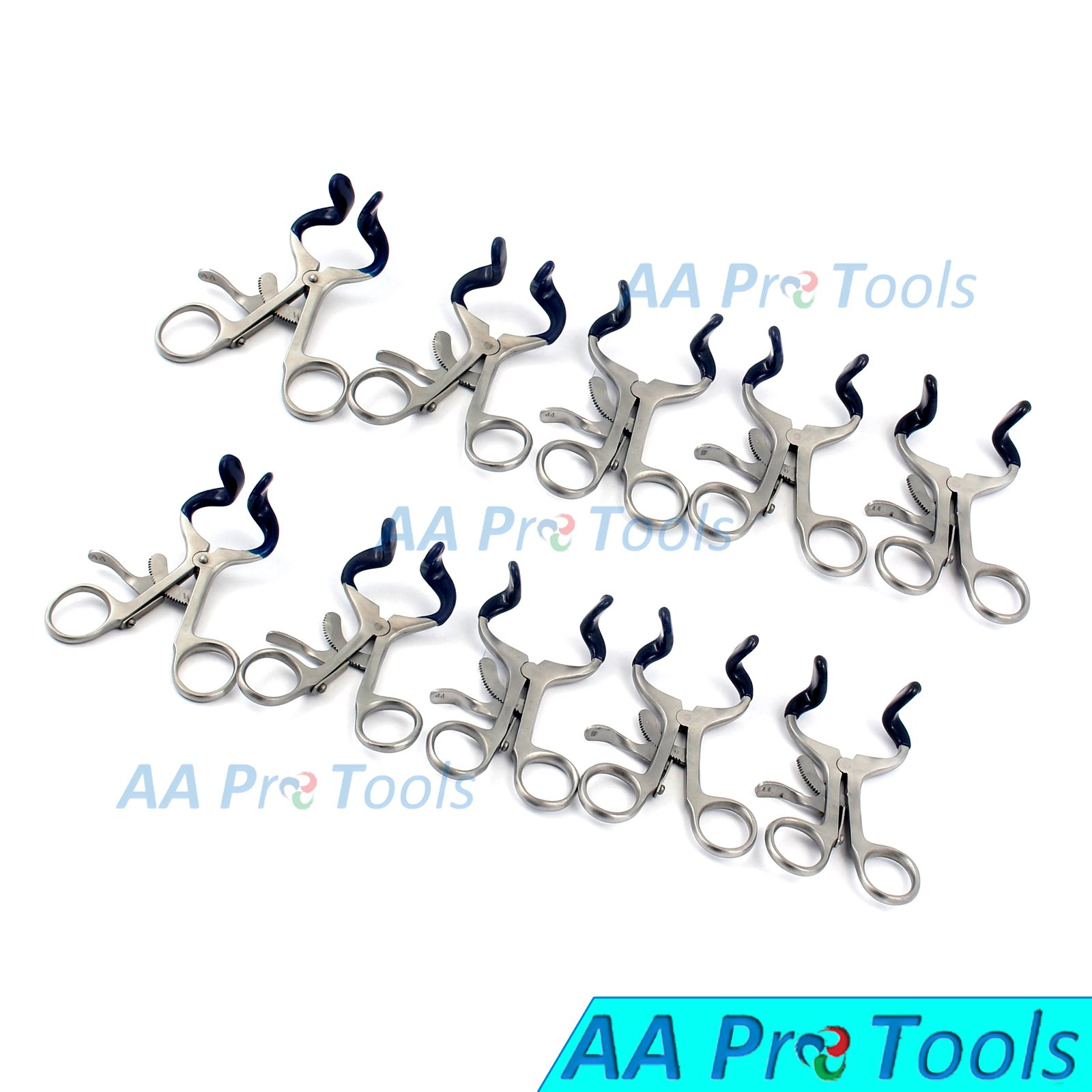 AAPROTOOLS NEW SET OF 10 PCS O.R GRADE MOLT MOUTH GAG BLUE 3.5'' DENTAL INSTRUMENT WITH SILICONE A+ QUALITY