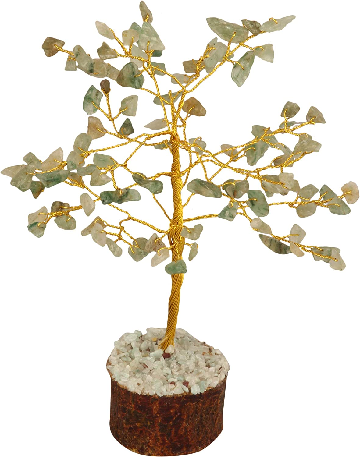 FASHIONZAADI Green Jade Gemstone Crystal Tree for Feng Shui Bonsai Healing Crystals Money Tree Chakra Balancing EMF Protection Home Table and Garden Décor Great Gift Set Size: 7-8 Inch (Golden Wire).