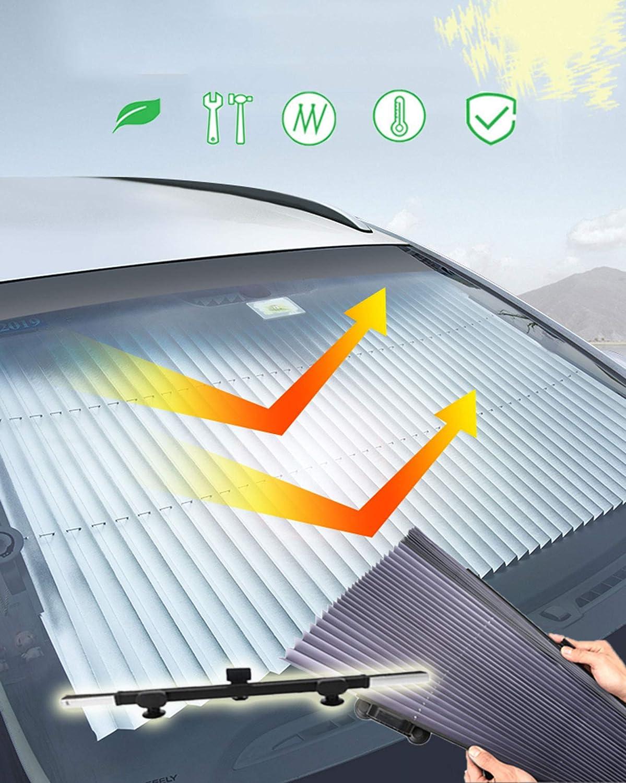 Kwaks Parasol Autom/ática Plegable para el Coche Bloqueador de Rayos Solares Potente Ventosa Protecci/ón Solar para Enfriar el Coche Sombrilla Telesc/ópica del Parabrisas del Coche 70 cm