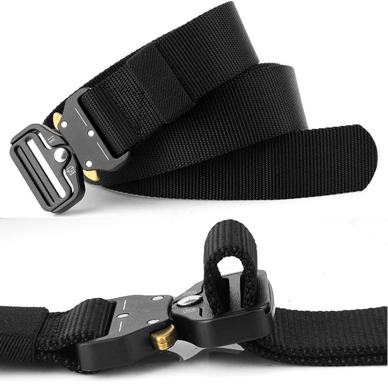 2 Piezas Cintur/ón Hombres T/áctico Militar Ajustable Lona Nylon Hebilla de Metal para Entrenamiento de Caza Ej/ército