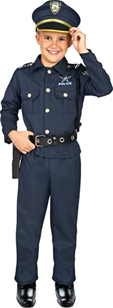 Kangaroo's Deluxe Boys Police Costume for Kids, Small