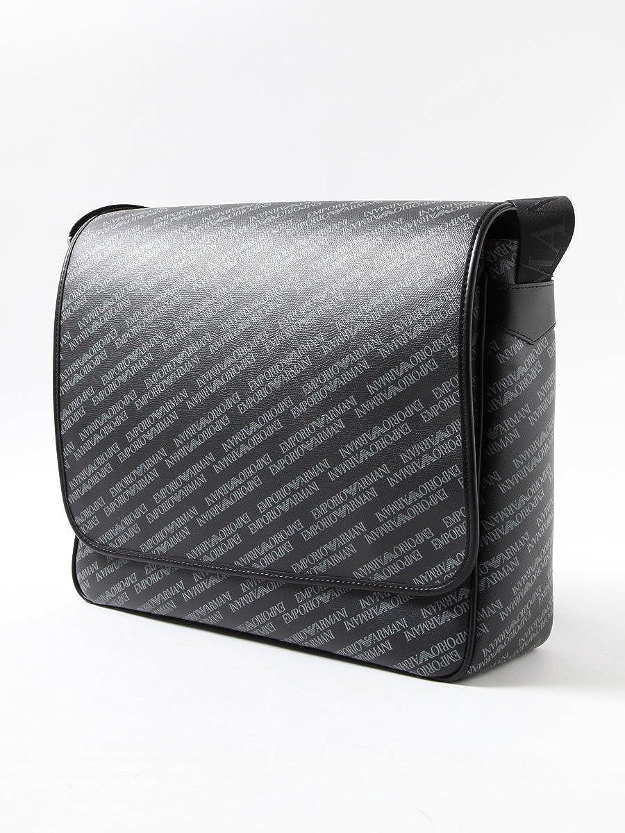 (エンポリオアルマーニ) EMPORIO ARMANI 総柄 ベルト ロゴ ショルダーバッグ ブラック/- B07CCKQY2F ブラック