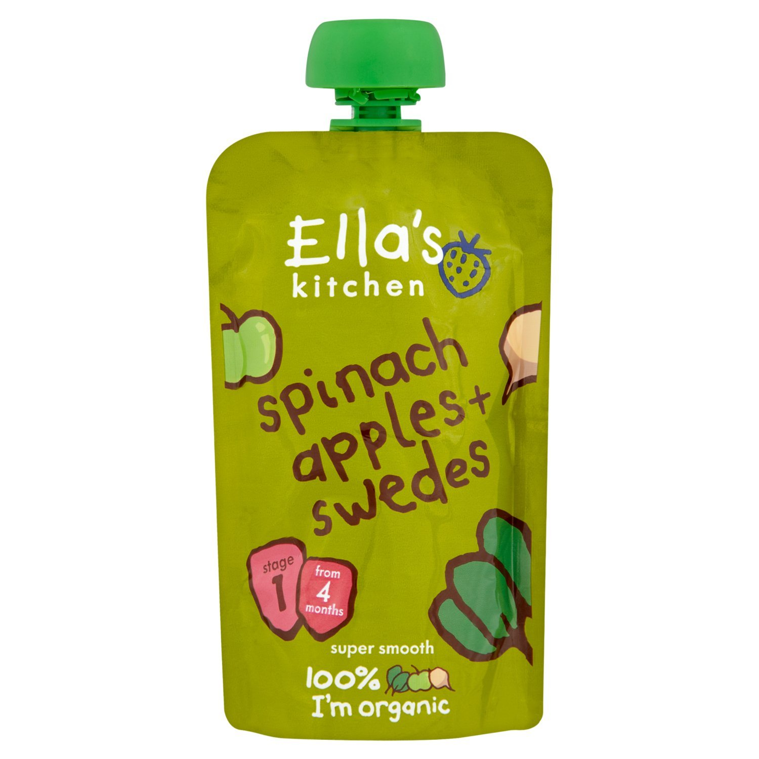 Ella's Kitchen - Stage 1 Baby Food - Spinach, Apples & Swedes - 120g (Case of 7)
