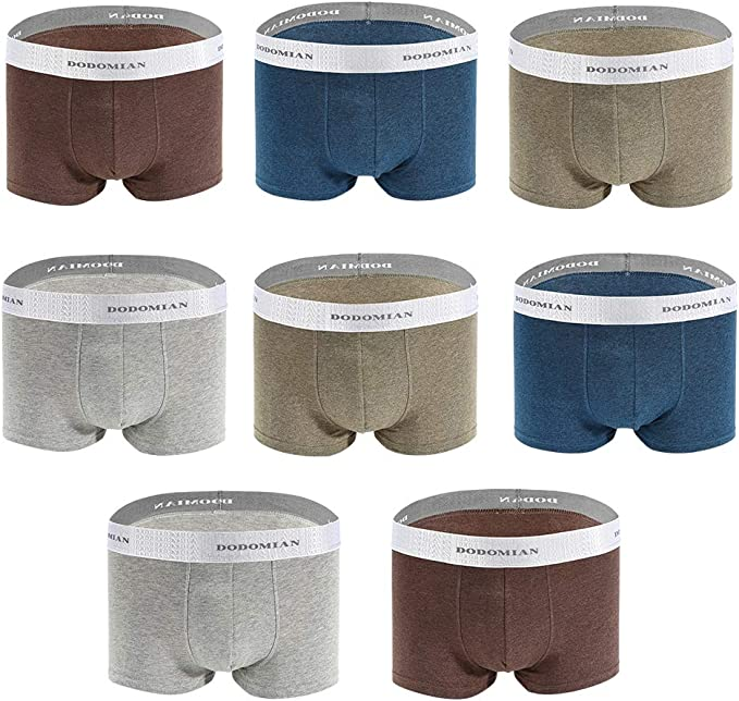 DODOMIAN Mens Boxers Shorts 8 Pack Mens Underwear Cotton Boxer ...