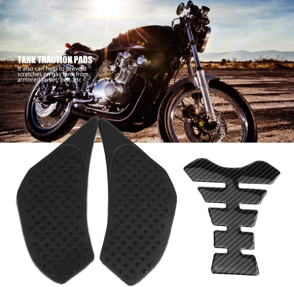 2 x Non-Slip Motorcycle Gas Tank Cushions with Fishbone Adhesive Label for Yamaha FZ-6 06-10