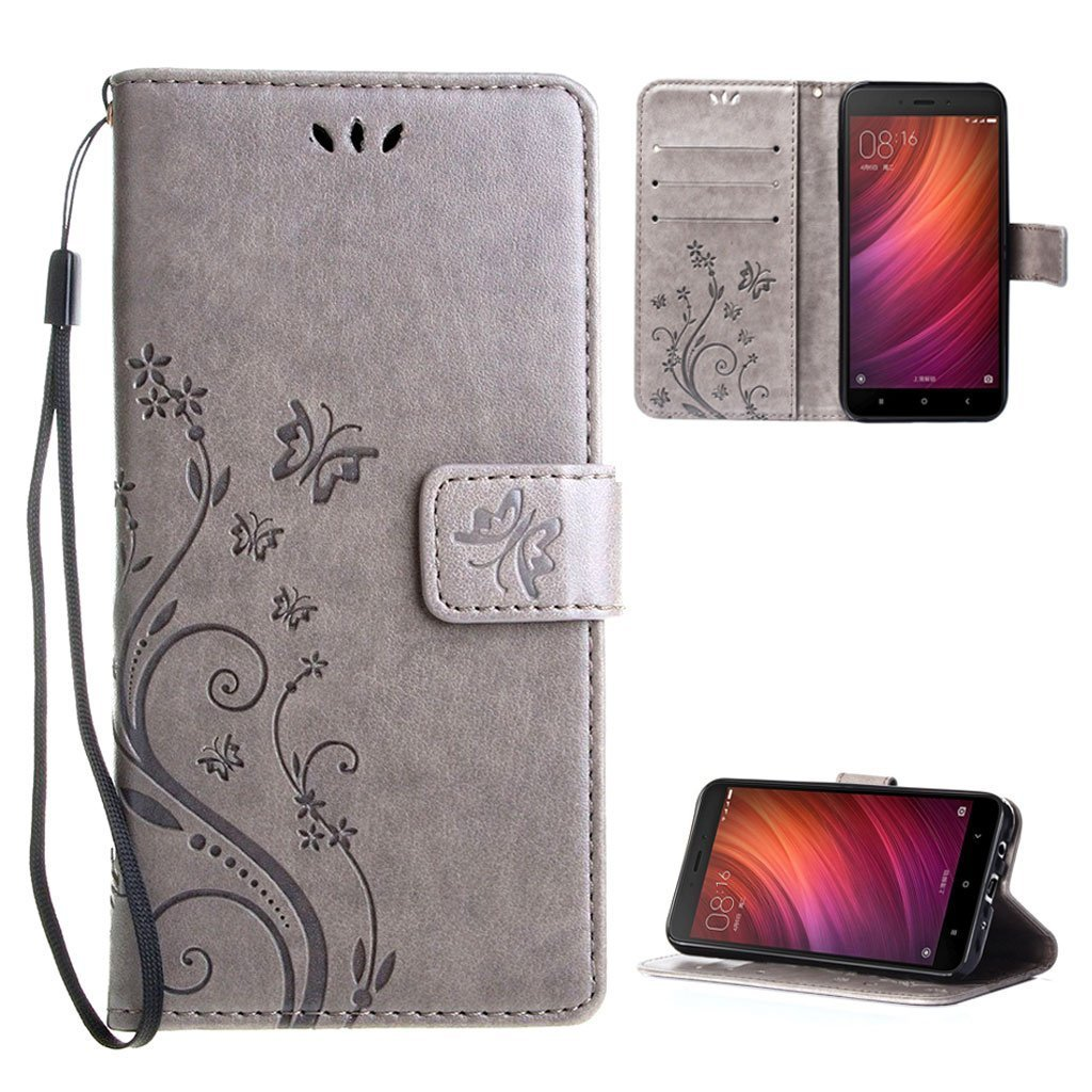 Funda Xiaomi Redmi Note X Cover Gris Leathlux Libro Suave PU Leather