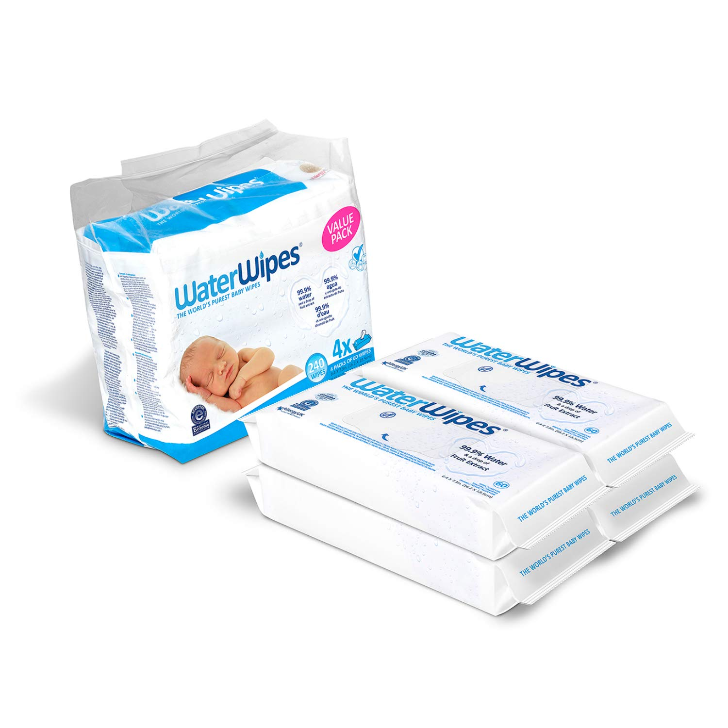 Baby Wipes, WaterWipes Sensitive Baby Diaper Wipes, 99.9% Water, Unscented & Hypoallergenic, for Newborn Skin, 4 Packs (240 Count)