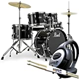 Pearl Roadshow RS585C C31 Jet Black Schlagzeug + KEEPDRUM Kopfhörer + 1 Paar Drumsticks