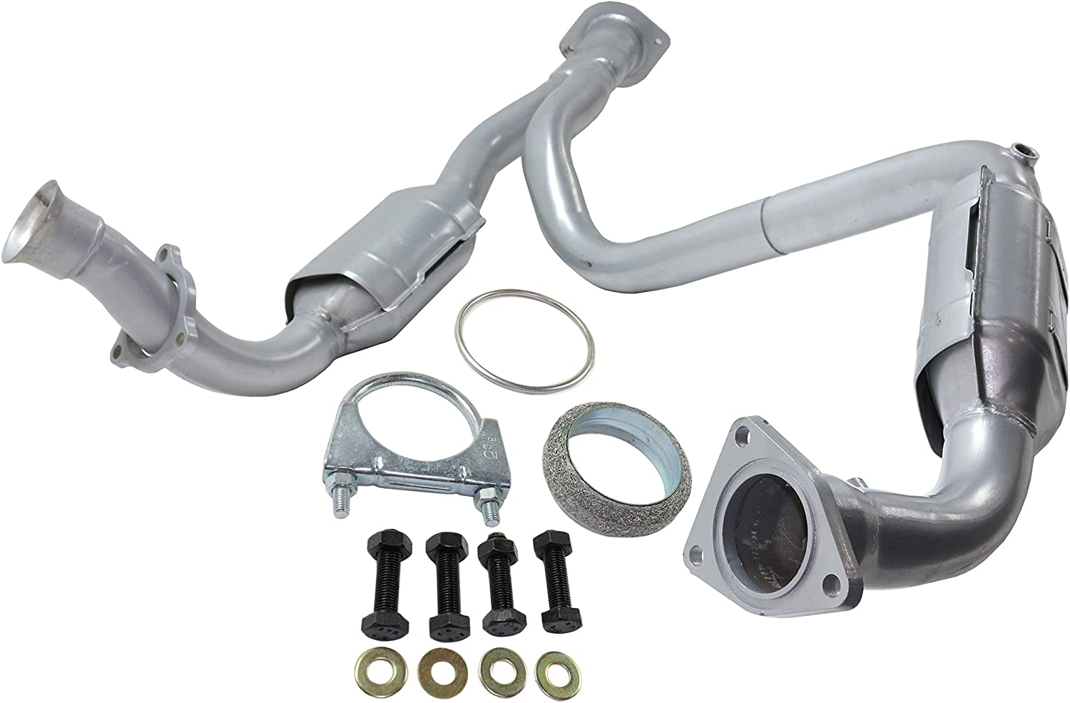 Outlet Upstream and Downstream at 50.5 inches Overall Length 2-bolt welded flange Catalytic Converter Compatible with 1999-2005 Chevrolet Silverado 1500//2000-2006 Tahoe Single