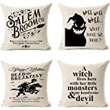 MFGNEH Dead and Breakfast Halloween Throw Pillow Covers 18x18 Inch Set of 4 Salem Broom Halloween Decorations Throw…