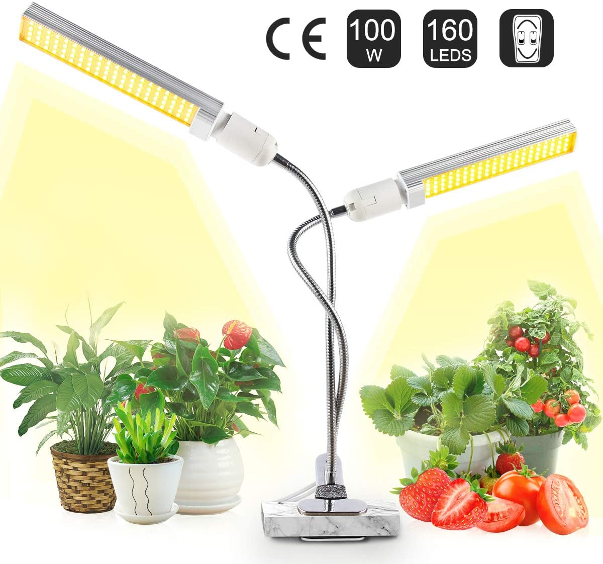 100W LED Grow Light for Indoor Plants, JEVDES 160PCS LED Sunlike Full Spectrum Plant Lights, Dual Head Plants Growing Lamp, Adjustable Gooseneck, for Seedling Growing Blooming Fruiting