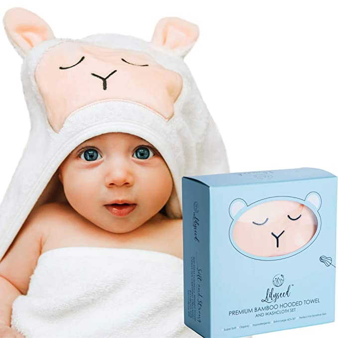 Adorable Unique Design LIL LUV Ultra Soft Bamboo Baby Hooded Towel Grey Star for Boys Highly Absorbent Best Baby Gift