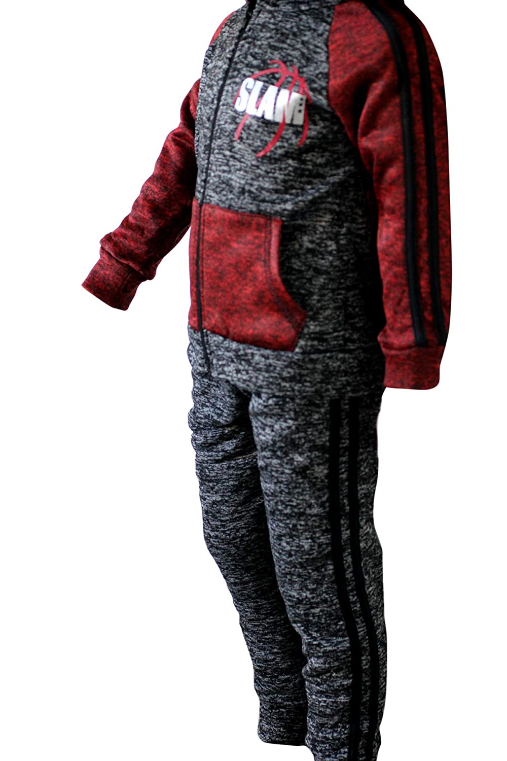 Full Sleeves Hooded Top and Cuffed Bottoms Slam Boys Kids Plush Tracksuit Set