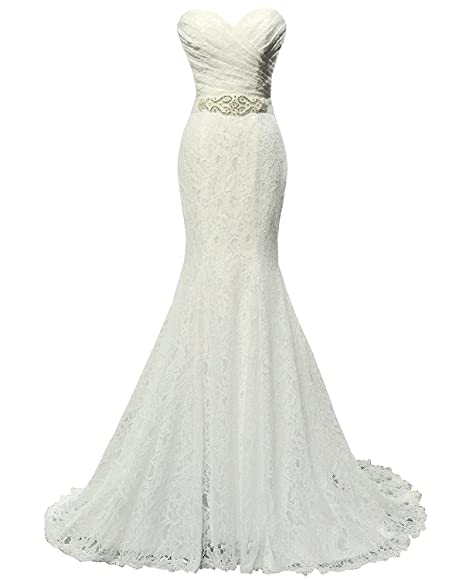 Solovedress Women s Lace Wedding Dress Mermaid Evening Dress Bridal Gown  with Sash (UK 6 a1cb94f58