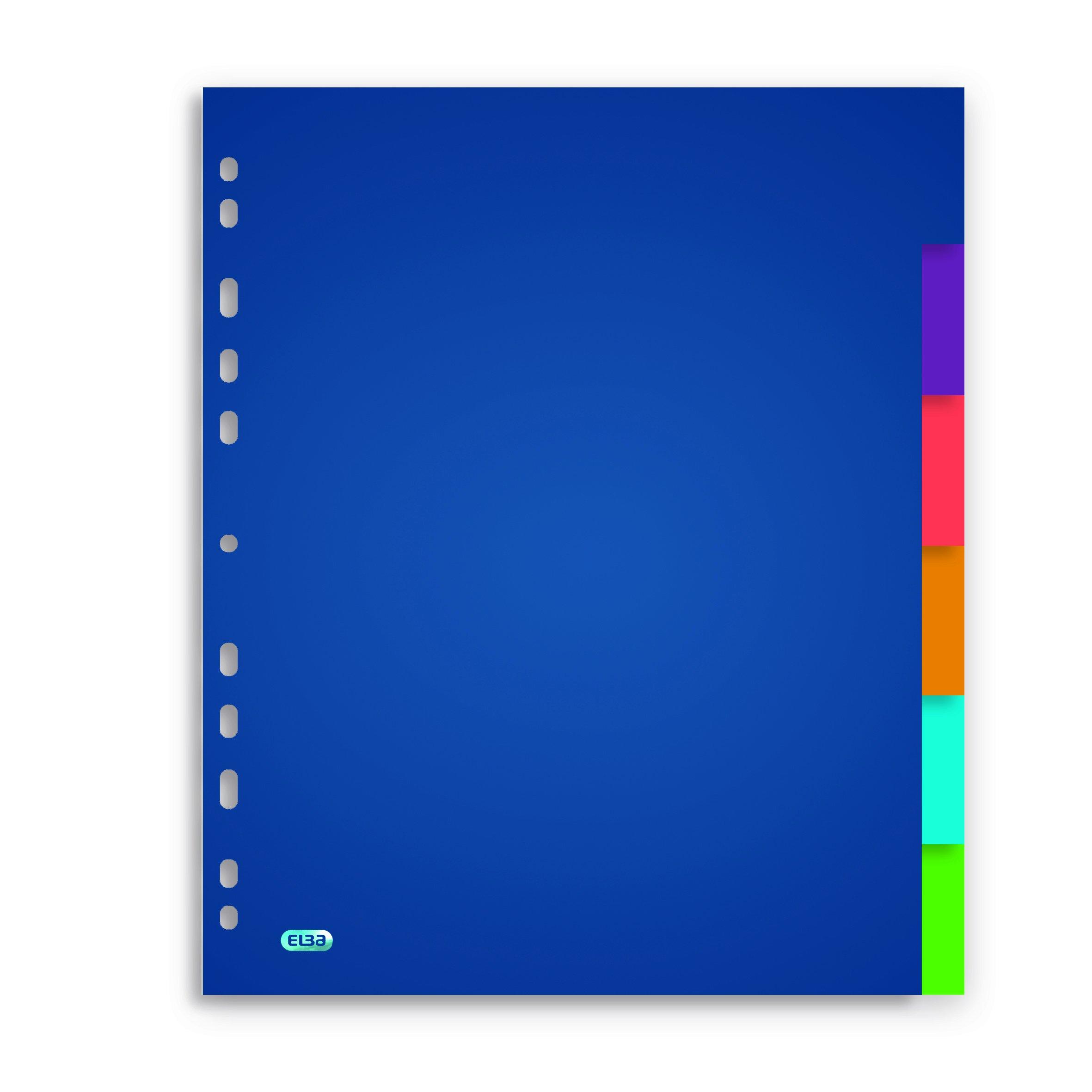 Elba School Life A4XL Rewritable Dividers 6 Tabs Assorted Colours