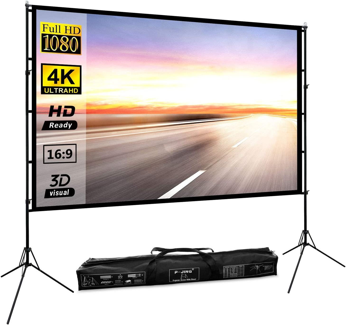 Projector Screen with Stand 100inch Portable Projection Screen 16:9 4K HD Rear Front Projections Movies Screen for Indoor Outdoor Home Theater Backyard Cinema Trave - New