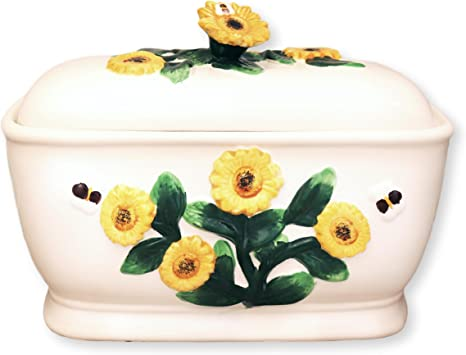 Amazon Com Tuscany 3d Sunflower Bread Box Sunflower Cookie Jar Kitchen Dining