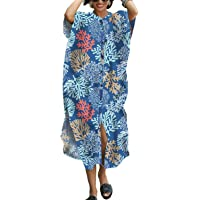 YouKD Summer Floral Loose Caftan Boho Beach Bikini Cover Up Dress Plus Size Robe for Women