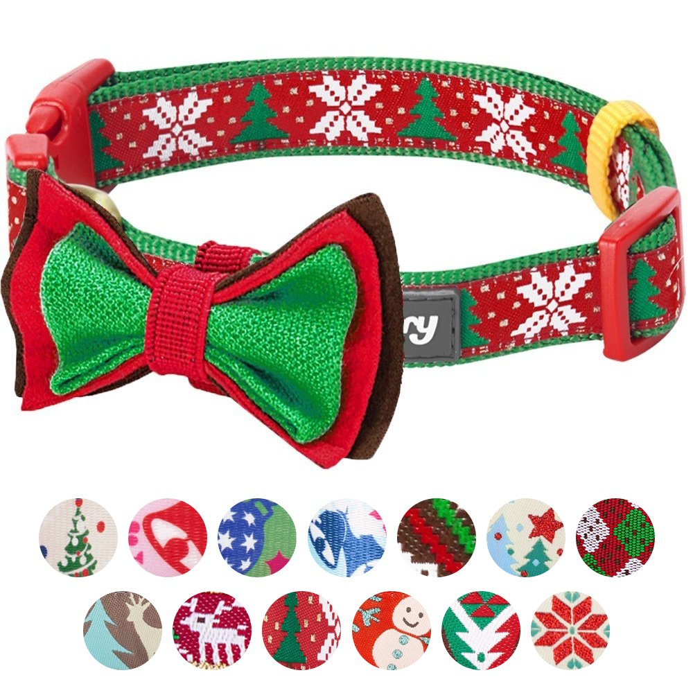 Blueberry Pet 14 Patterns Christmas Joy Snowflakes Trees Dog Collar Detachable Bow Tie, Small, Neck 12''-16'', Adjustable Collars Dogs