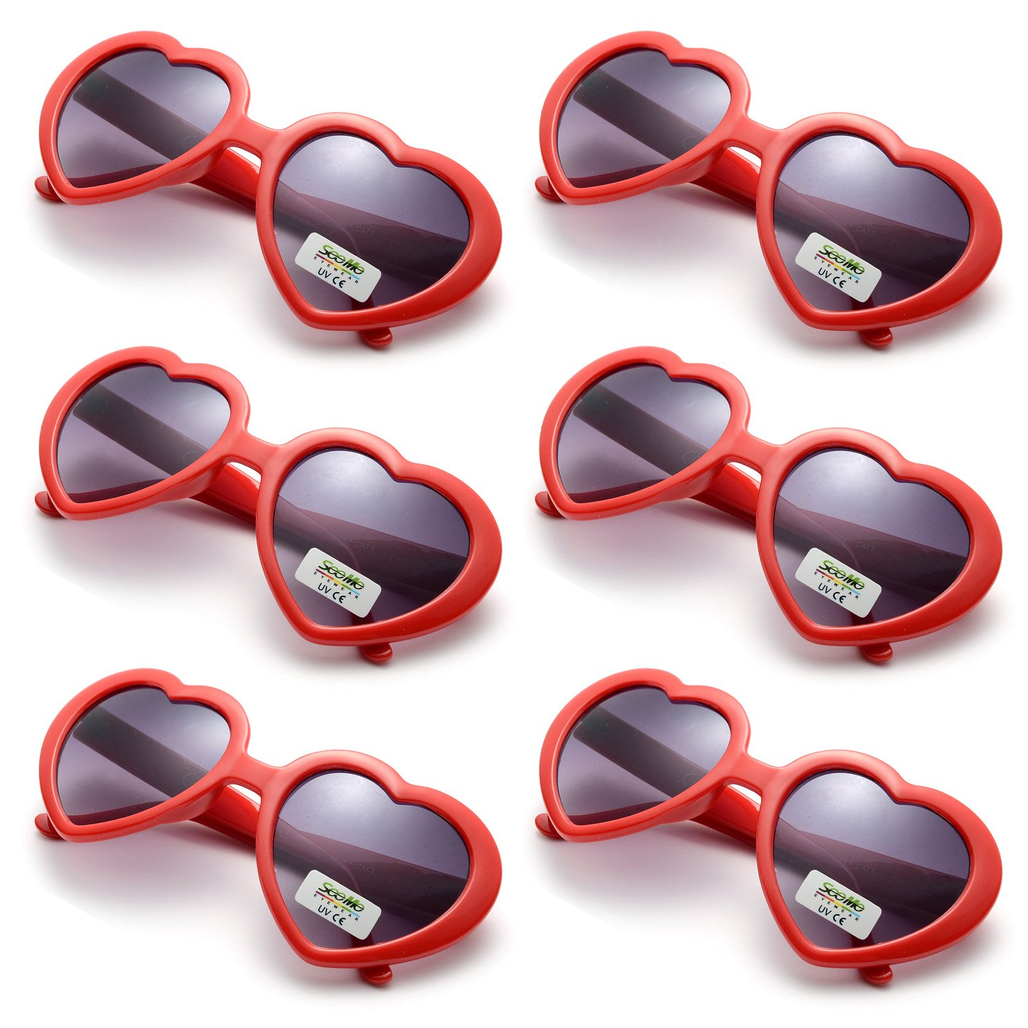 Oaonnea 6 Pack Neon Colors Party Favor Supplies Heart Shape Sunglasses (red)