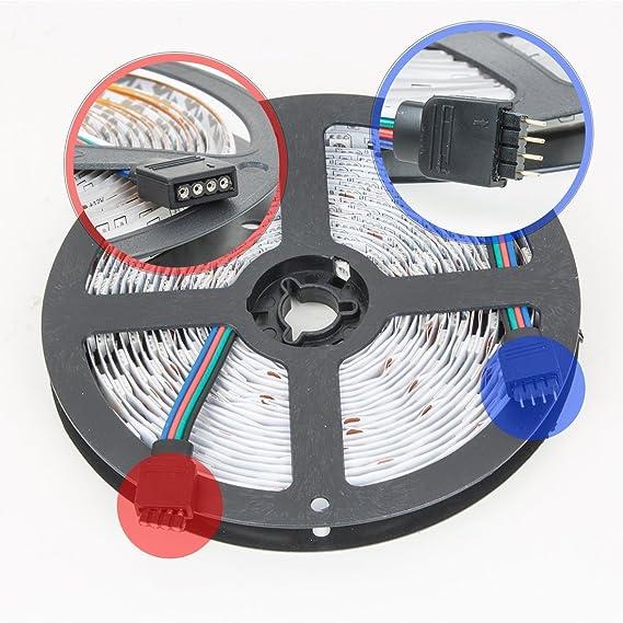Juego de luces LED tira eDealMax - Luces 16.5ft Kit / 5M, de Nonwaterproof, 300LEDs, 5050SMD, RGB, 44key del mando a distancia, nos enchufe de alimentación, ...