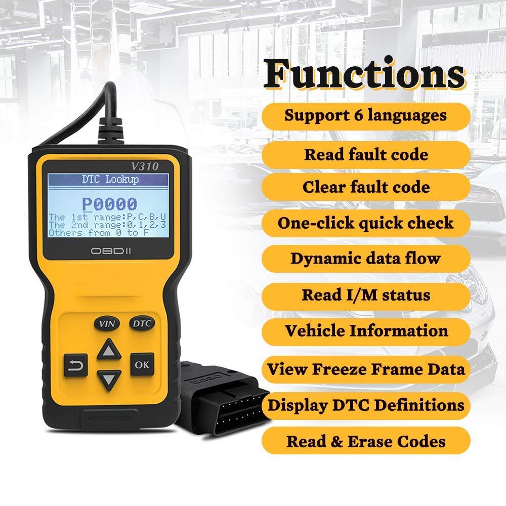 WildAuto V310 OBD 2 Scanner,Professional Car Diagnostic Scanner Engine Fault Code Reader,Multi Language Support