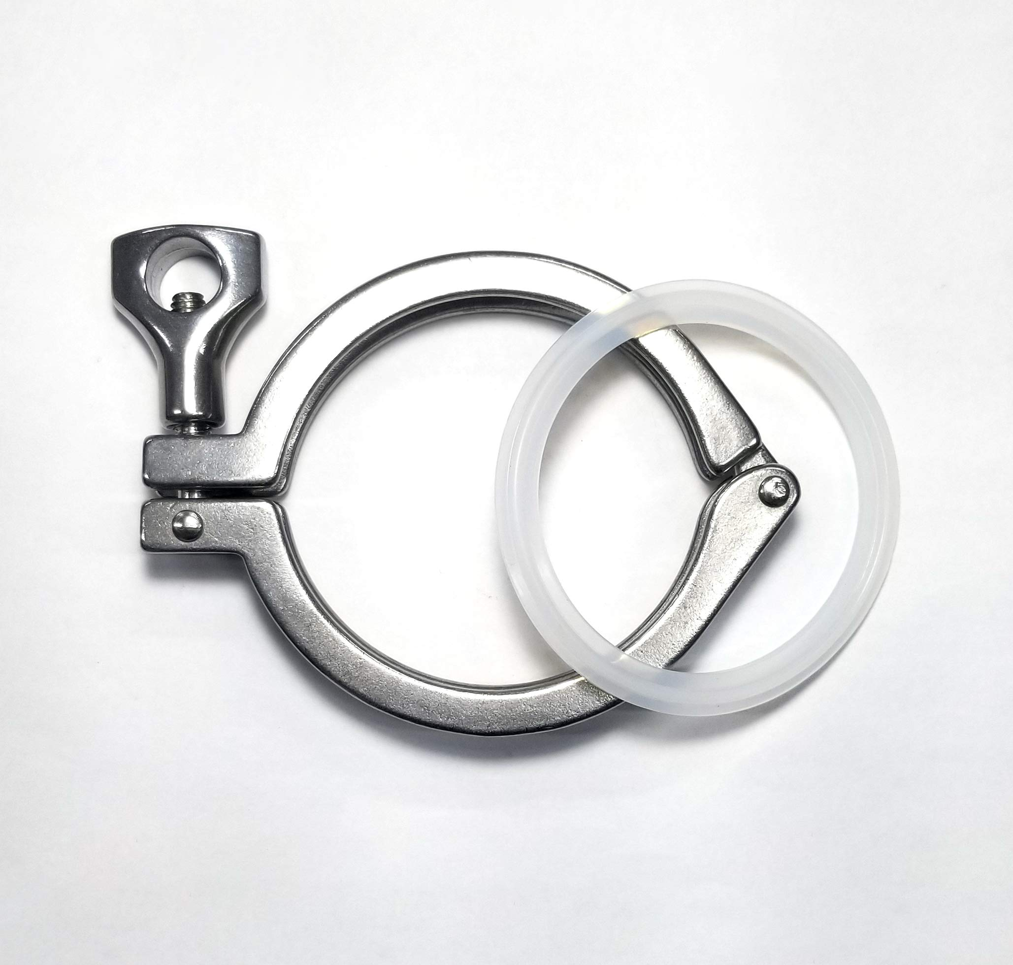 Stainless Sanitary Clamp - Tri-Clover 2.5'' Tube OD - Heavy Duty Single Pin w/Gasket (5 Pack) - SS304 - Homebrew Clover Clamp