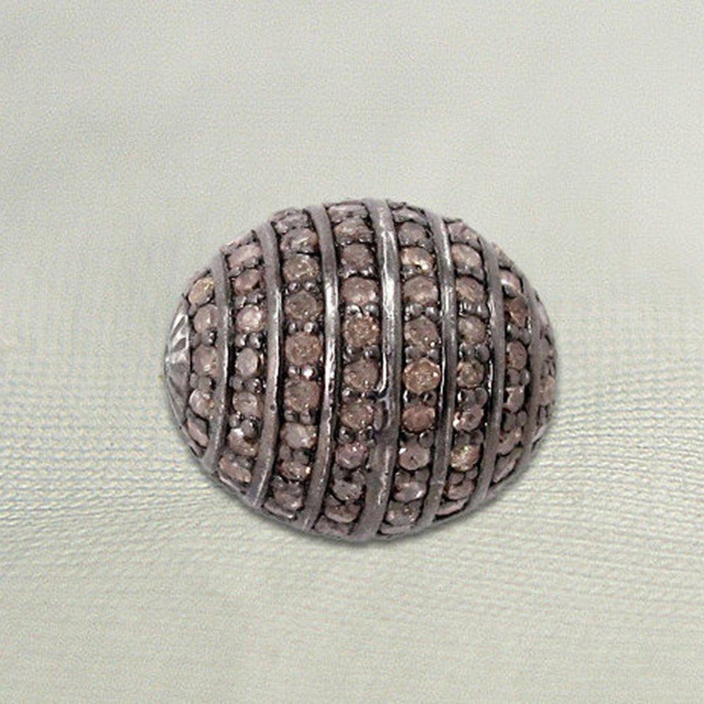 925 Sterling Silver Genuine Pave Diamond Beads Handmade Jewelry