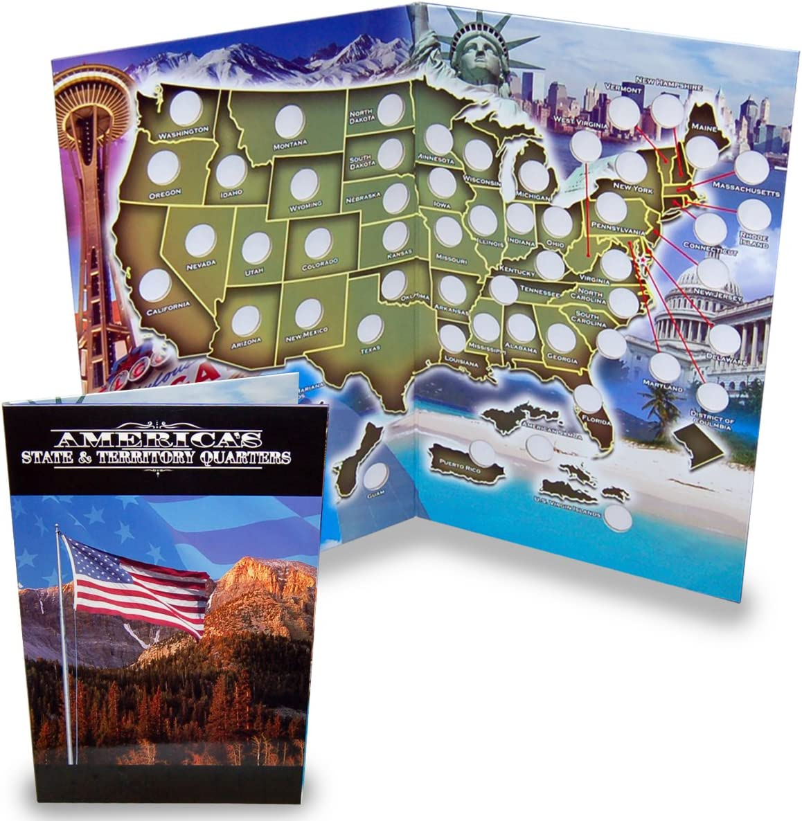 National Park Quarter Collection Book Folder Map,