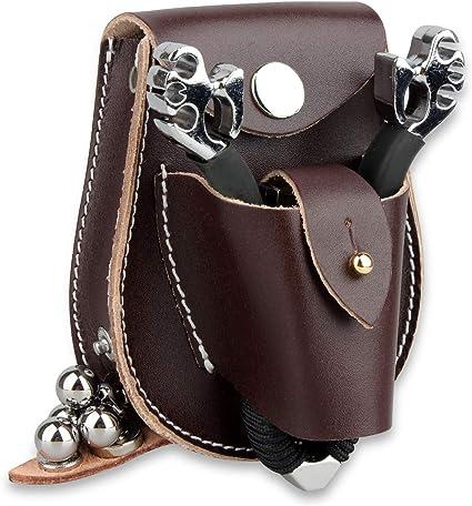 Catapult Hunting Slingshot Steel Balls Ammo Leather Case Waist Bag Fresh Pouch