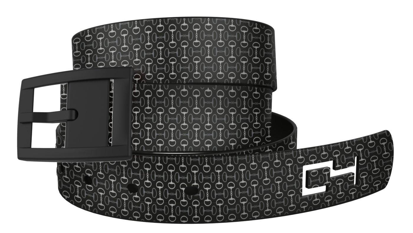 C4 Equestrian Metal Free Belt: Black Bits n Pieces Strap with Black Buckle - Equestrian Horseback Riding Belt for Women