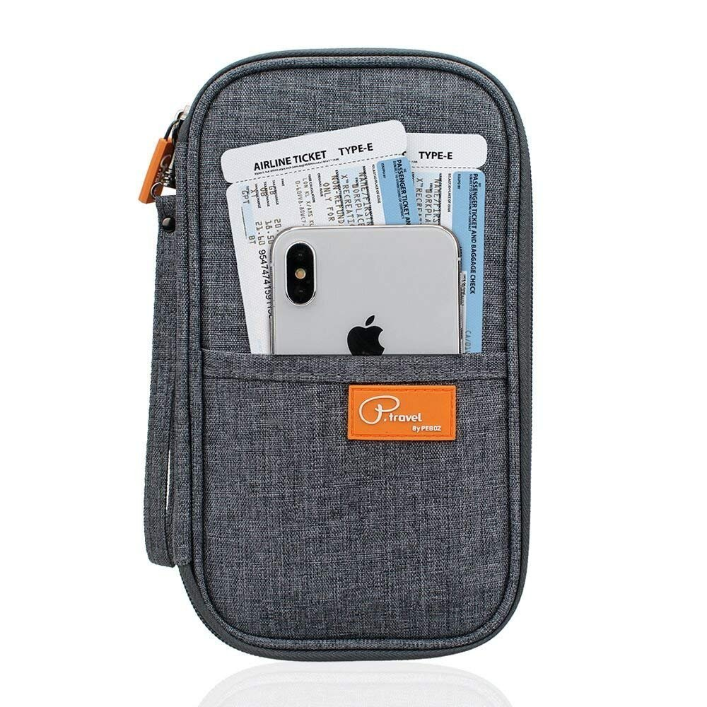 Family Passport Wallet Holder Waterproof, Travel Document Organizer Credit Card Clutch Bag for Men Women(Grey)
