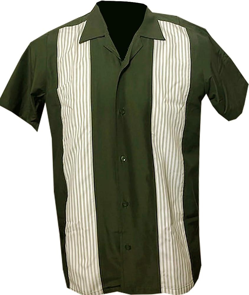 Rockabilly Fashions - Camisa casual para hombre, diseño retro de la década de 1950, color verde y blanco M: Amazon.es: Ropa y accesorios