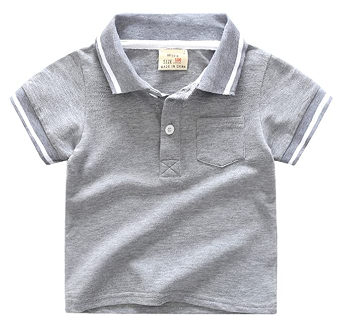 0252a1444 Amazon.com: Aulase Kids Boys Clothing Pique Polo Shirt Casual Summer Cotton  Top with Front Pocket: Clothing