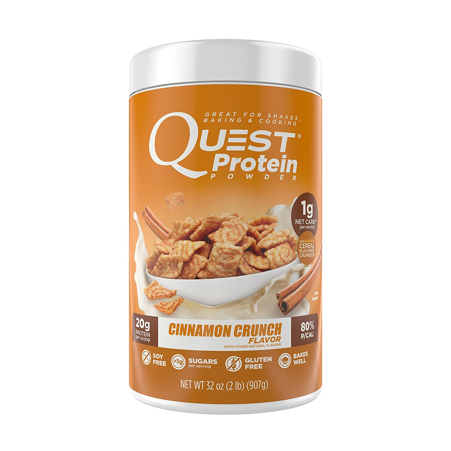 Quest Nutrition Cinnamon Crunch Protein Powder, High Protein, Low Carb, Gluten Free, Soy Free, 2lb Tub