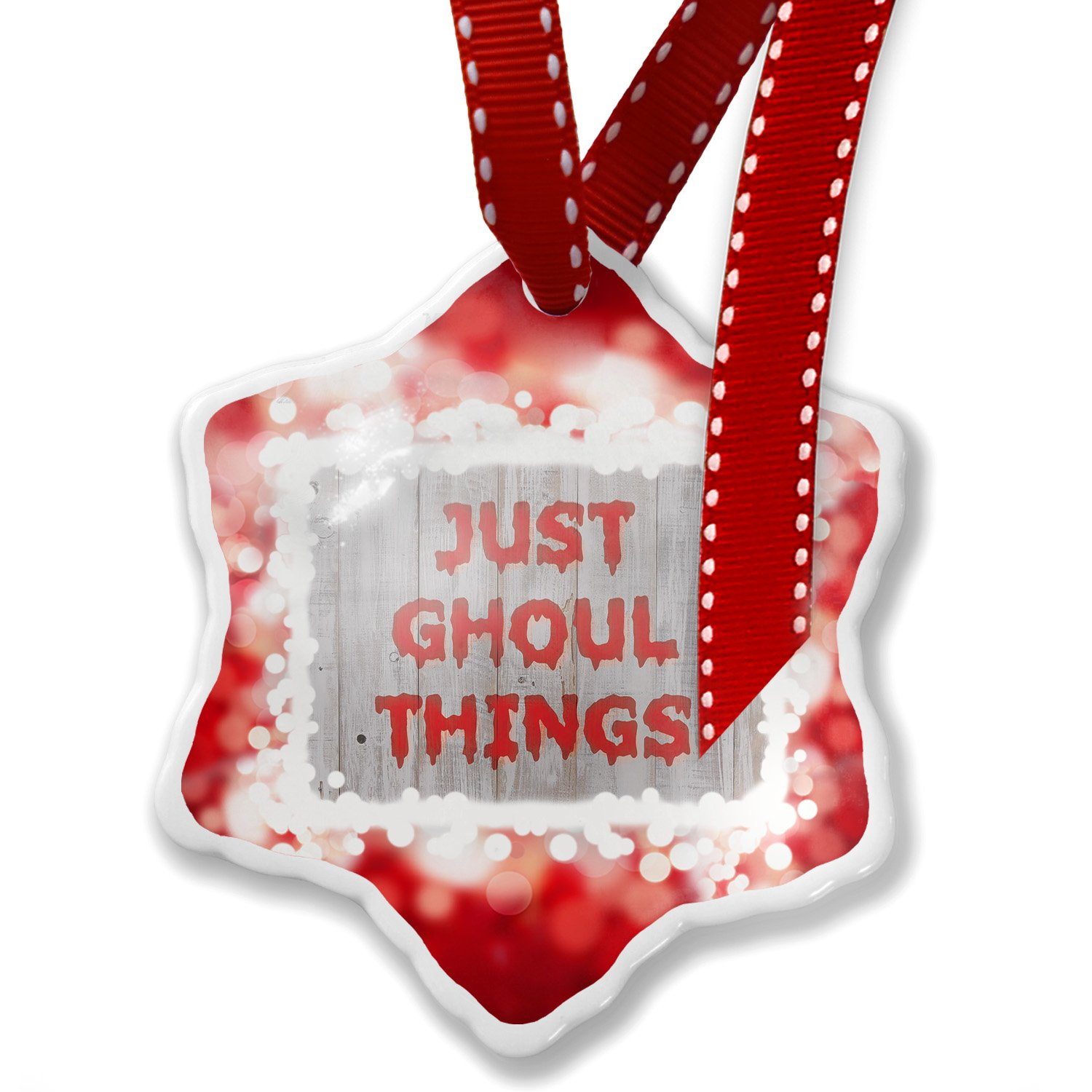 Christmas Ornament Just Ghoul Things Halloween Bloody Wall, red - Neonblond