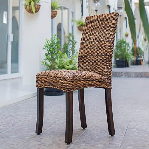 International Caravan Furniture Piece Louisa Abaca Cushioned Seat Dining Chair