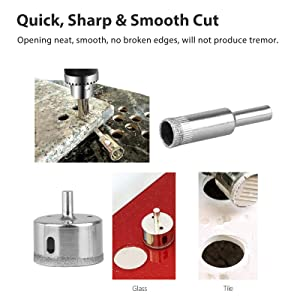Sunjoyco Diamond Drill Bits, 30 PCS Glass Hole Saw Drill Bit Set Cutting Remover Tools for Glass Porcelain Tile Ceramic Marble Granite Bottles DIY (6mm-50mm) (Color: Silver)