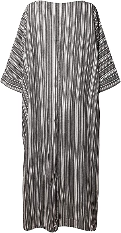 Women Summer Stripe Long Sleeve V-Neck Kaftan Dress