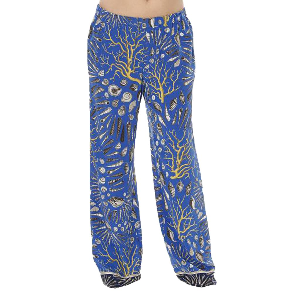 Marina Rinaldi Women's Riviera Shell Print Silk Pants 12W / 21 Blue