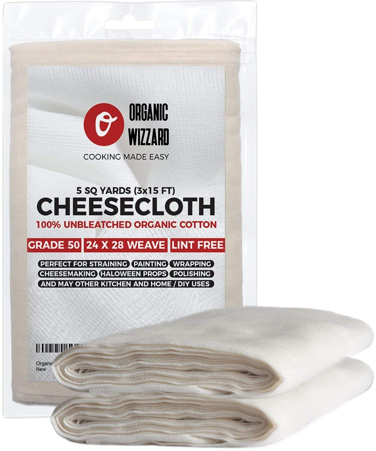 Cheesecloth - Organic Unbleached Cotton Fabric - Grade 90 Ultra Fine Mesh. 45 Sq Feet (5 yards) of 100% Natural, Washable and Reusable Food Filter/Strainer 4335484454