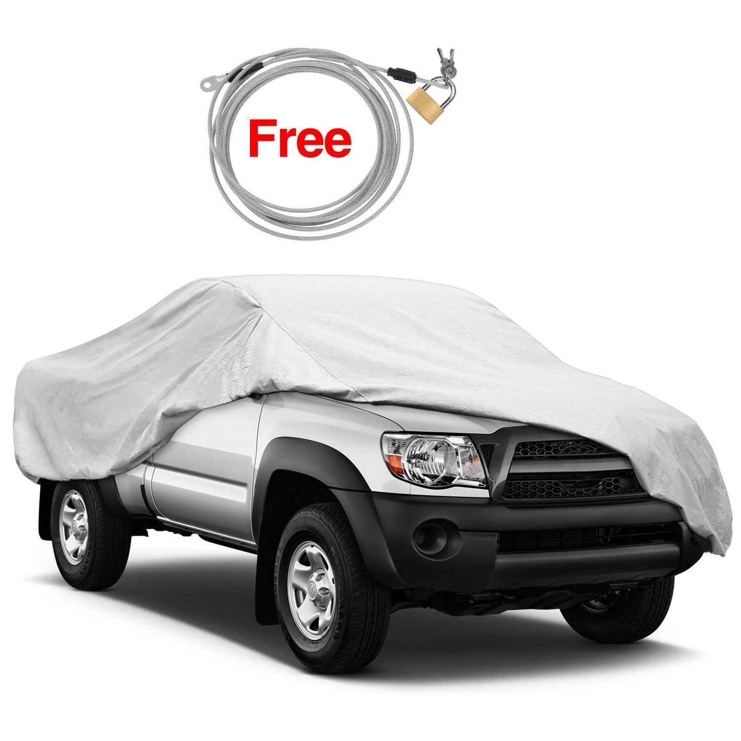 Windproof Dustproof Truck Cover - KAKIT Water Resistant All Weather Sun Protection Car Cover for Truck - Free Windproof Ribbon & Anti-theft Lock - Fits up to 242'