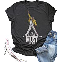 Vintage Queen T Shirt The Show Must Go On Summer Funny Freddie Mercury Graphic Tees Top for Music Lovers