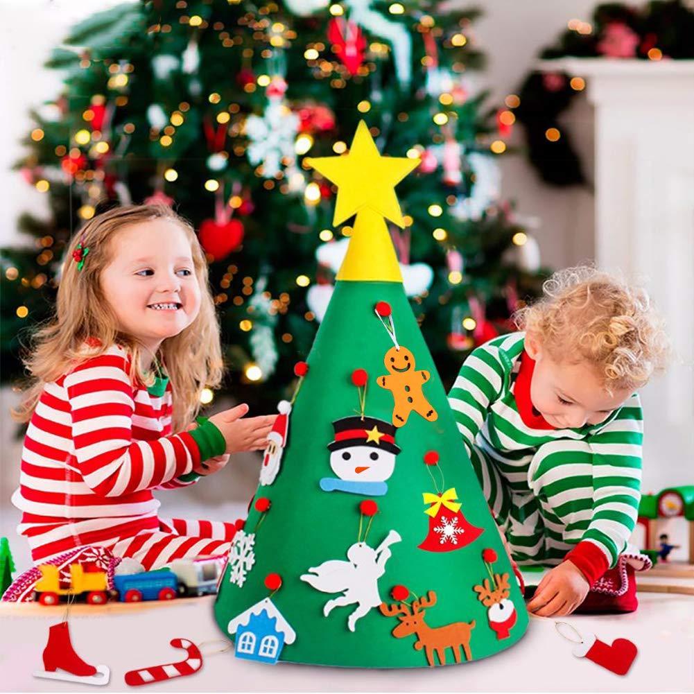 WOSTOO DIY Christmas Tree, 3D DIY Kinder Weihnachtsbaum mit 22 Stück Weihnachten Ornamente Decoration Removable Ornaments für Kinder Weihnachten Geschenke Weihnachten Home Dekorationen