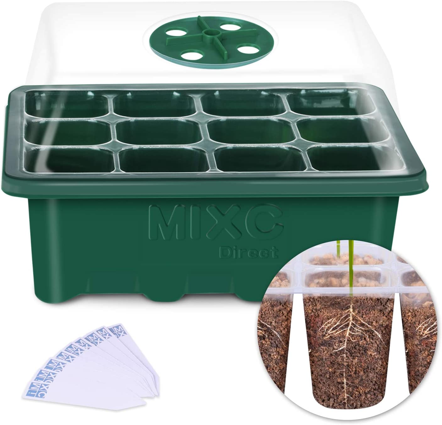 10-Pack Seed Trays Seedling Starter Tray, MIXC Humidity Adjustable Plant Starter Kit with Dome and Base Greenhouse Grow Trays Mini Propagator for Seeds Growing Starting (12 Cells per Tray) 712Buxz0WjHL