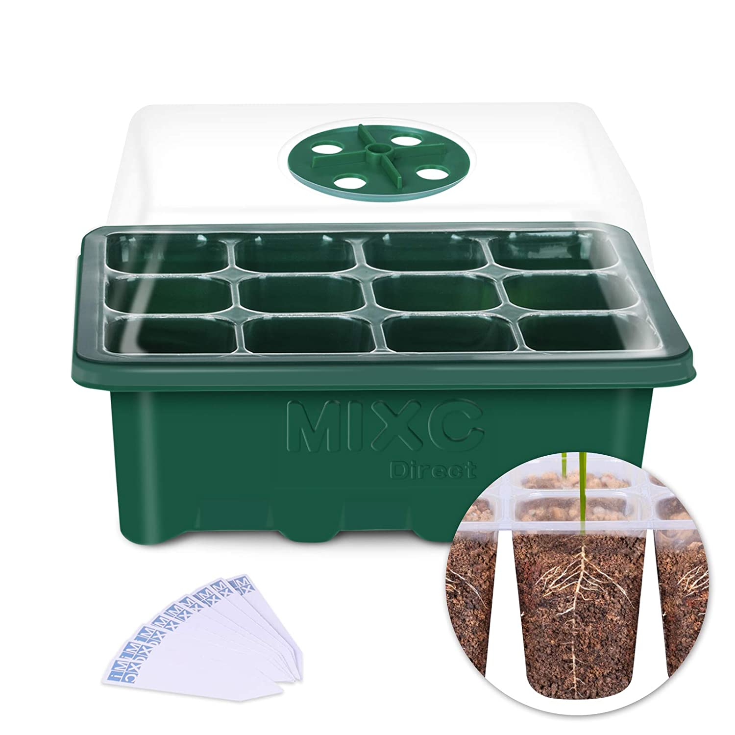 10-Pack Seed Trays Seedling Starter Tray, MIXC Humidity Adjustable Plant Starter Kit with Dome and Base Greenhouse Grow Trays Mini Propagator for Seeds Growing Starting (12 Cells per Tray)